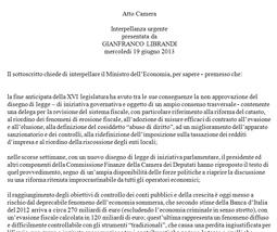Interpellanza urgente al Ministro dell'economia – 19 Giugno 2013