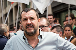 60044517 - milan, italy - july 22, 2016: the secretary of lega nord party matteo salvini protests in front of the turkish consulate against president erdogan and his policy.60044517 - milan, italy - july 22, 2016: the secretary of lega nord party matteo salvini protests in front of the turkish consulate against president erdogan and his policy.