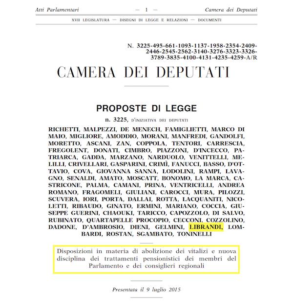 3225 - Vitalizi e pensioni politici - Richetti 600