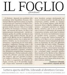 """Rilanciamo L'Europa: Librandi, lettera aperta al direttore de """"IL FOGLIO"""" Cerasa"""